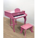 New Pink Childs Wood Toy Grand Piano With Bench Kids Piano 30 Key.jpg